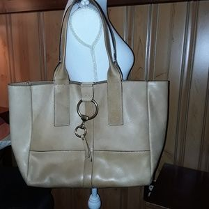 FRYE XL ILANA RING LEATHER SHOPPER TOTE